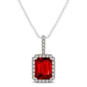 Round cut 5.50 ct. ruby with diamonds pendant neck